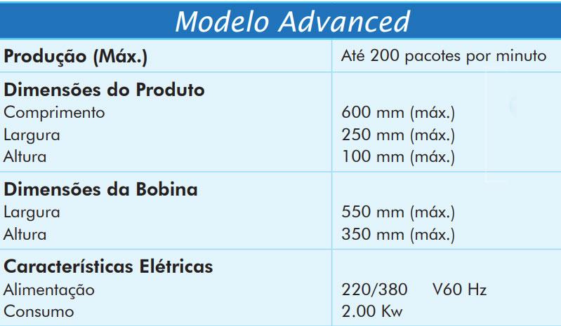 Máquina para Embalar Modelo Advanced